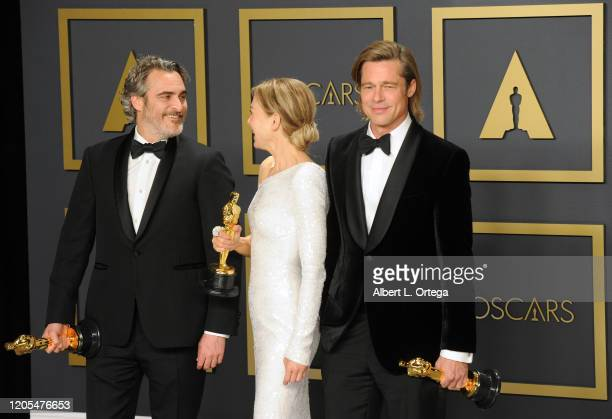 Joaquin Phoenix Renée Zellweger and Brad Pitt pose inside The Press Room of the 92nd Annual Academy Awards held at Hollywood and Highland on February...