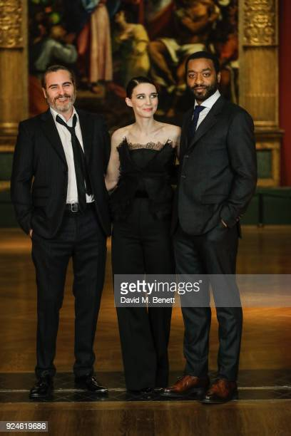 Joaquin Phoenix Rooney Mara and Chiwetel Ejiofor attend a special screening of 'Mary Magdalene' at The National Gallery on February 26 2018 in London...