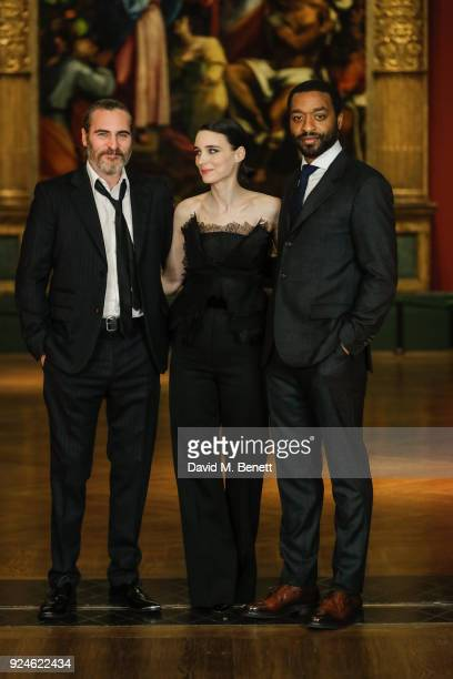 Joaquin Phoenix Rooney Mara and Chiwetel Ejiofor attend a special screening of Mary Magdalene at The National Gallery on February 26 2018 in London...