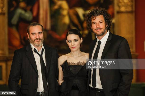 Joaquin Phoenix Rooney Mara and Garth Davis attend a special screening of Mary Magdalene at The National Gallery on February 26 2018 in London England
