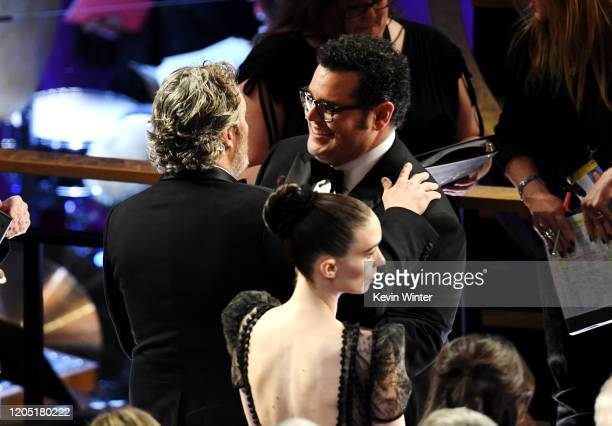 Joaquin Phoenix, Rooney Mara and Josh Gad attend the 92nd Annual Academy Awards at Dolby Theatre on February 09, 2020 in Hollywood, California.