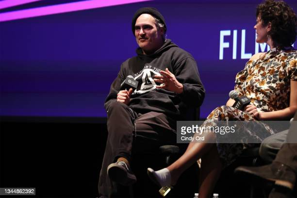 Joaquin Phoenix takes part in a Q&A for 'C'mon C'mon' during the 59th New York Film Festival at Alice Tully Hall on October 04, 2021 in New York City.