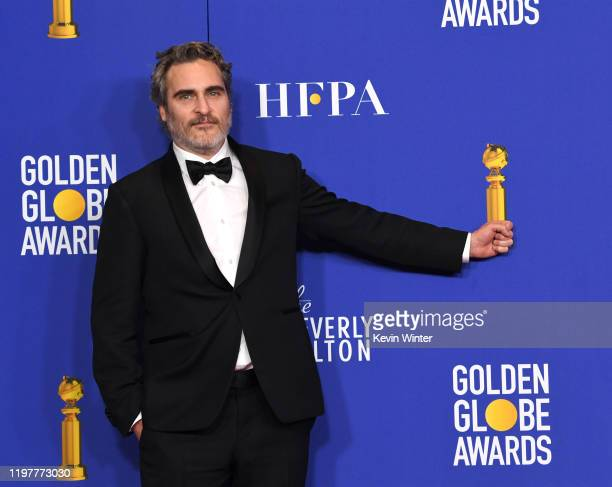 Joaquin Phoenix winner of Best Performance by an Actor in a Motion Picture Drama for Joker poses in the press room during the 77th Annual Golden...