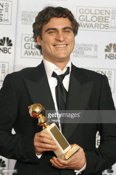 Joaquin Phoenix winner of Best Performance by an Actor in a Motion Picture Musical or Comedy for Walk the Line at the Beverly Hilton Hotel in Beverly...