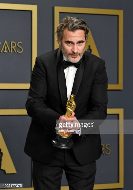 "Joaquin Phoenix winner of the Actor in a Leading Role award for ""Joker"" poses in the press room during the 92nd Annual Academy Awards at Hollywood..."
