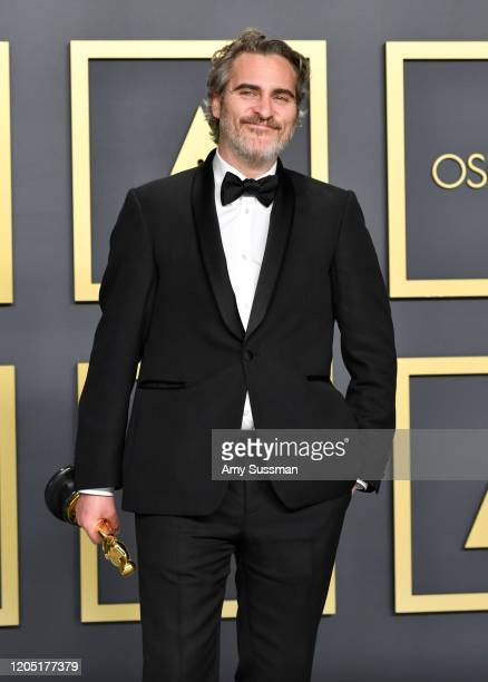"""Joaquin Phoenix winner of the Actor in a Leading Role award for """"Joker"""" poses in the press room during the 92nd Annual Academy Awards at Hollywood..."""