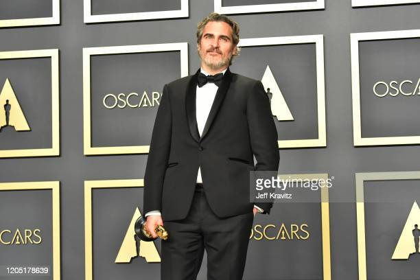 Joaquin Phoenix winner of the Actor in a Leading Role award for Joker poses in the press room during the 92nd Annual Academy Awards at Hollywood and...