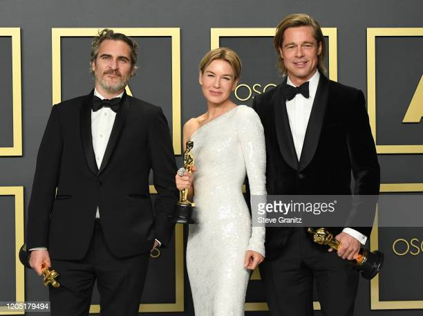 "Joaquin Phoenix, winner of the Actor in a Leading Role award for ""Joker,"" Renée Zellweger, winner of the Actress in a Leading Role award for ""Judy,""..."