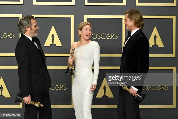 """Joaquin Phoenix winner of the Actor in a Leading Role award for """"Joker"""" Renée Zellweger winner of the Actress in a Leading Role award for """"Judy"""" and..."""