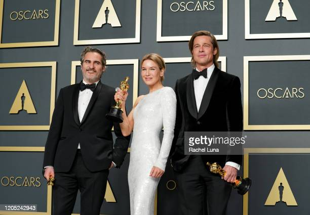 "Joaquin Phoenix winner of the Actor in a Leading Role award for ""Joker"" Renée Zellweger winner of the Actress in a Leading Role award for ""Judy"" and..."
