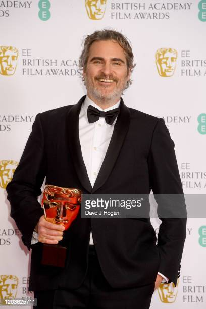 Joaquin Phoenix, winner of the Bafta for Best Actor, poses in the Winners Room during the EE British Academy Film Awards 2020 at Royal Albert Hall on...