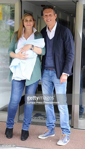 Joaquin Prat and Yolanda Bravo present their son Joaquin Prat on April 16 2015 in Madrid Spain