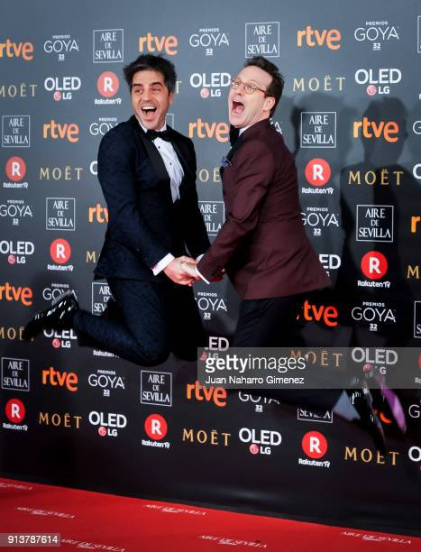 Joaquin Reyes and Ernesto Sevilla attend Goya Cinema Awards 2018 at Madrid Marriott Auditorium on February 3 2018 in Madrid Spain