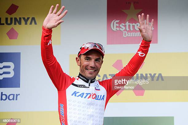Joaquin Rodriguez of Spain and Team Katusha celebrates on the podium after winning the Stage three of the La Volta a Catalunya on March 26, 2014 in...