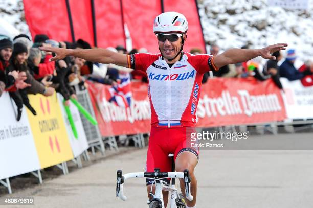 Joaquin Rodriguez of Spain and Team Katusha celebrates winning the Stage three of the La Volta a Catalunya on March 26, 2014 in La Molina, Spain.
