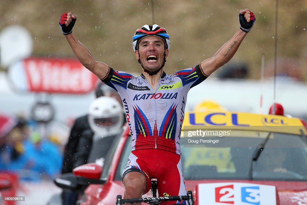 Joaquin Rodriguez Oliver of Spain and Team Katusha celebrates as he crosses the finish line to win stage twelve of the 2015 Tour de France, a 195 km stage between Lannemezan and Plateau de Beille, on July 16, 2015 in Plateau de Beille, France.