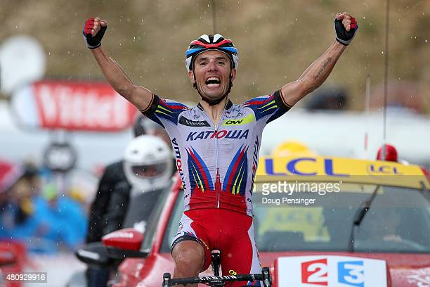 Joaquin Rodriguez Oliver of Spain and Team Katusha celebrates as he crosses the finish line to win stage twelve of the 2015 Tour de France, a 195 km...