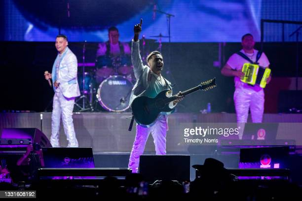 Joaquin Ruiz of Grupo Firme performs at Staples Center at Staples Center on July 30, 2021 in Los Angeles, California.