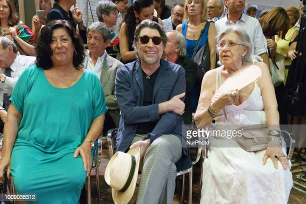 Joaquin Sabina Pilar Bardem and Almudena Grandes attends the swearing in ceremony of new Cervantes Institute Director Luis Garcia Moreno in Madrid...
