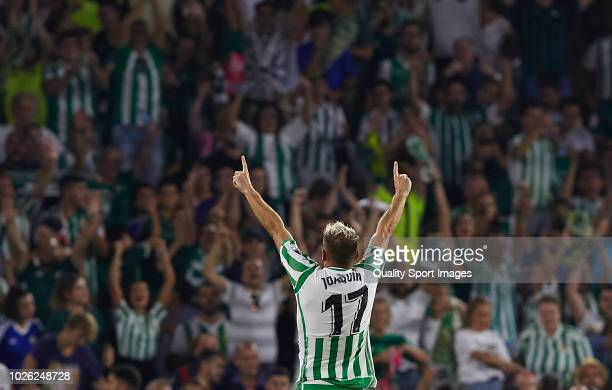 Joaquin Sanchez of Betis celebrates after scoring his sides first goal during the La Liga match between Real Betis Balompie and Sevilla FC at Estadio...