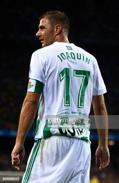 Joaquin Sanchez of Betis looks on during the La Liga match between Barcelona and Real Betis at Camp Nou on August 20 2017 in Barcelona Spain