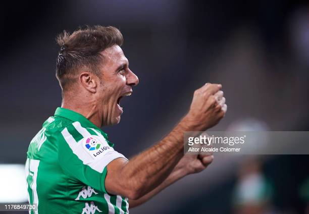 Joaquin Sanchez of Real Betis Balompie celebrates after his teammate Loren Moron scored during the Liga match between Real Betis Balompie and Levante...