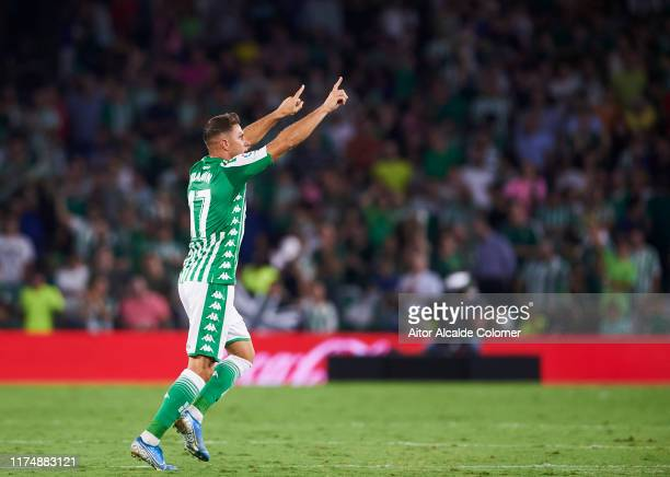 Joaquin Sanchez of Real Betis Balompie celebrates after scoring goal during the Liga match between Real Betis Balompie and Getafe CF at Estadio...