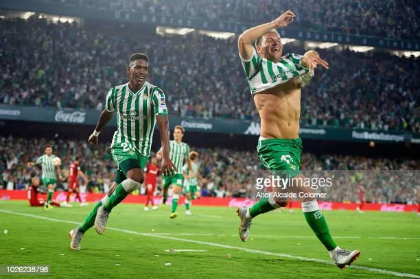 Joaquin Sanchez of Real Betis Balompie celebrates after scoring during the La Liga match between Real Betis Balompie and Sevilla FC at Estadio Benito...
