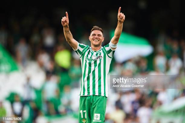 Joaquin Sanchez of Real Betis Balompie celebrates after scoring during the La Liga match between Real Betis Balompie and SD Huesca at Estadio Benito...