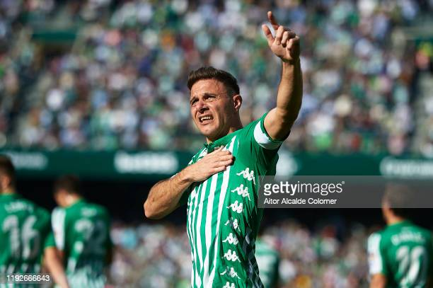 Joaquin Sanchez of Real Betis Balompie celebrates after scoring the second goal during the Liga match between Real Betis Balompie and Athletic Club...