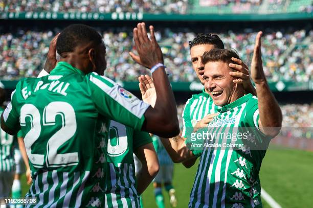 Joaquin Sanchez of Real Betis Balompie celebrates after scoring the first goal during the Liga match between Real Betis Balompie and Athletic Club at...