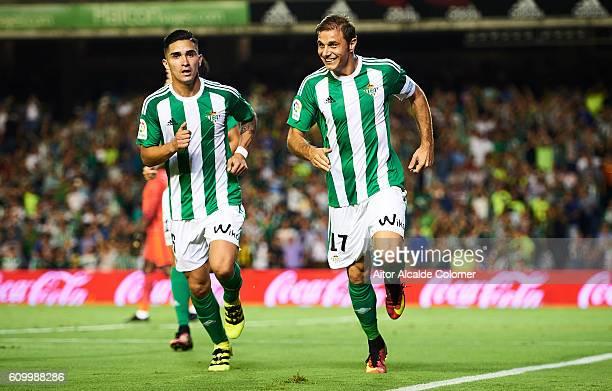 Joaquin Sanchez of Real Betis Balompie celebrates after scoring during the match between Real Betis Balompie vs Malaga CF as part of La Liga at...