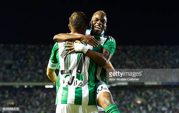 Joaquin Sanchez of Real Betis Balompie celebrates after scoring with Charly Musonda of Real Betis Balompie during the match between Real Betis...