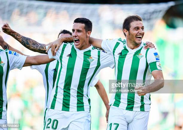 Joaquin Sanchez of Real Betis Balompie celebrates after scoring with Cristian Tello of Real Betis Balompie during the La Liga match between Real...