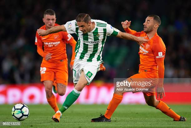 Joaquin Sanchez of Real Betis Balompie competes for the ball with Federico Ricca of Malaga CF during the La Liga match between Real Betis and Malaga...