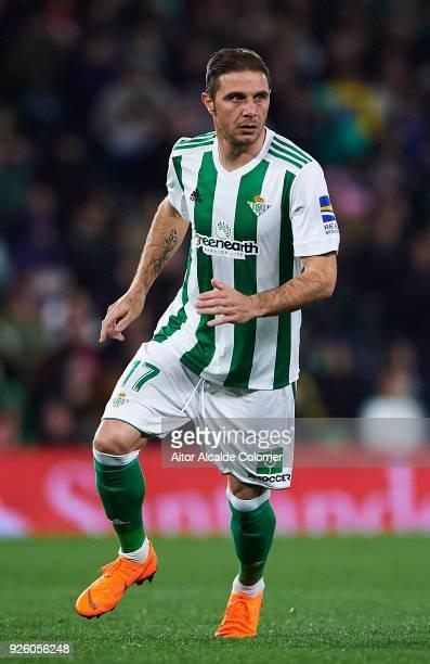 Joaquin Sanchez of Real Betis Balompie in action during the La Liga match between Real Betis and Real Sociedad at Estadio Benito Villamarin on March...