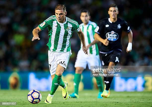 Joaquin Sanchez of Real Betis Balompie in action during the match between Real Betis Balompie v RC Deportivo La Coruna as part of La Liga at Estadio...