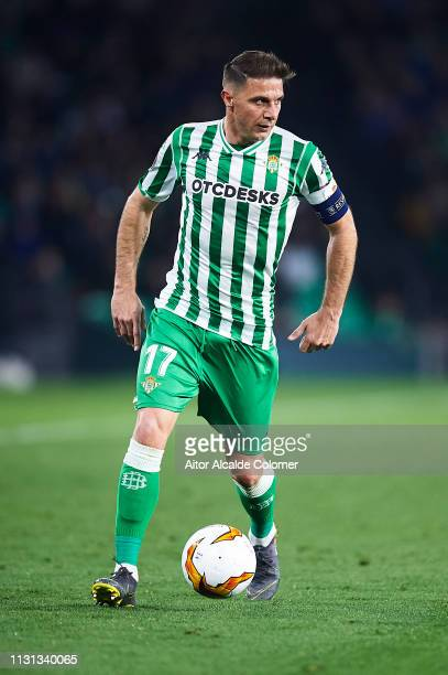 Joaquin Sanchez of Real Betis Balompie in action during the UEFA Europa League Round of 32 Second Leg match between Real Betis v Stade Rennais at...