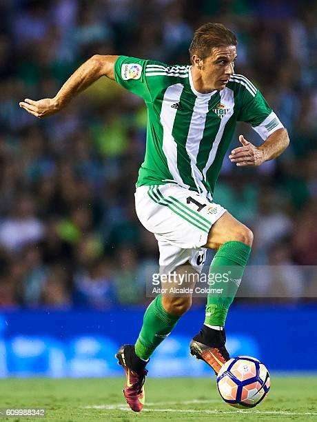 Joaquin Sanchez of Real Betis Balompie in actionduring the match between Real Betis Balompie vs Malaga CF as part of La Liga at Benito Villamarin...