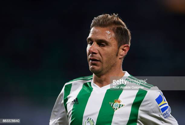 Joaquin Sanchez of Real Betis Balompie looks on during the Copa del Rey Round of 32 Second Leg match between Real Betis Balompie and Cadiz CF at...