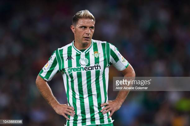 Joaquin Sanchez of Real Betis Balompie looks on during the La Liga match between Real Betis Balompie and CD Leganes at Estadio Benito Villamarin on...