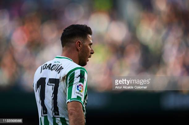 Joaquin Sanchez of Real Betis Balompie looks on during the La Liga match between Real Betis Balompie and Getafe CF at Estadio Benito Villamarin on...