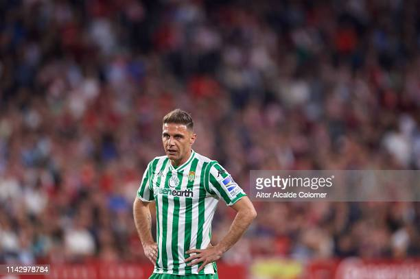 Joaquin Sanchez of Real Betis Balompie looks on during the La Liga match between Sevilla FC and Real Betis Balompie at Estadio Ramon Sanchez Pizjuan...