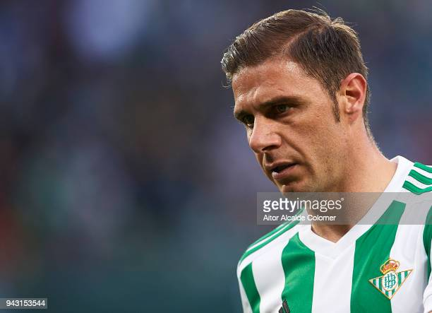 Joaquin Sanchez of Real Betis Balompie looks on during the La Liga match between Real Betis and Eibar at Estadio Benito Villamarin on April 7 2018 in...
