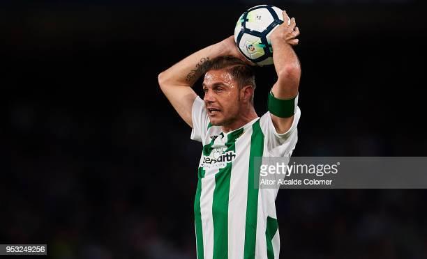 Joaquin Sanchez of Real Betis Balompie looks on during the La Liga match between Real Betis and Malaga at Estadio Benito Villamarin on April 30 2018...