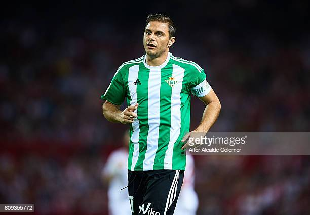 Joaquin Sanchez of Real Betis Balompie looks on during the match between Sevilla FC vs Real Betis Balompie as part of La Liga at Estadio Ramon...