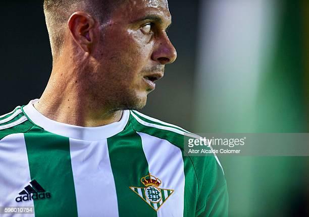 Joaquin Sanchez of Real Betis Balompie looks on during the match between Real Betis Balompie v RC Deportivo La Coruna as part of La Liga at Estadio...
