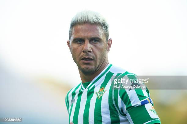 Joaquin Sanchez of Real Betis Balompie looks on during the match between Olympique Marseille v Real Betis at Estadio Algarve on July 25 2018 in Faro...