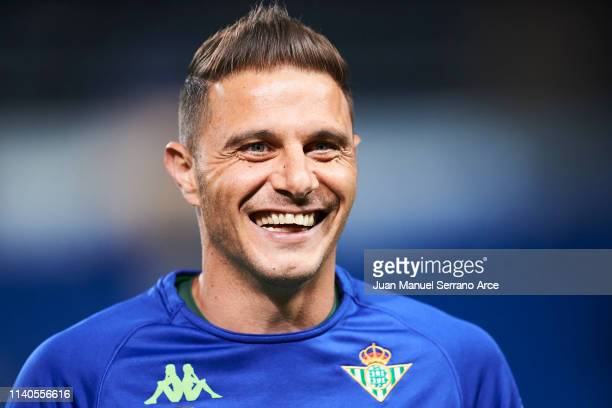 Joaquin Sanchez of Real Betis Balompie looks on prior to the start the La Liga match between Real Sociedad and Real Betis Balompie at Estadio Anoeta...