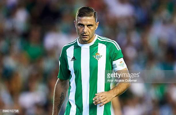 Joaquin Sanchez of Real Betis Balompie looks onduring the match between Real Betis Balompie v RC Deportivo La Coruna as part of La Liga at Estadio...